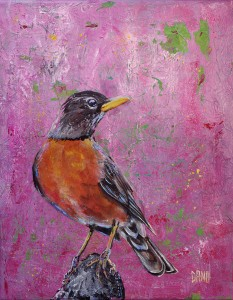 """American Robin #5"" - acrylic on canvas. Artist: Daniel (Dano) Carver"