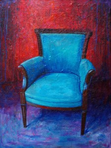 "'Find a Seat #8' - Acrylic painting on canvas (18""w x 24""h). Artist: Daniel (Dano) Carver"