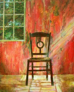 "'Find a Seat #4' - Acrylic painting on canvas (16""w x 20""h). Artist: Daniel (Dano) Carver"