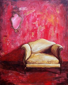 "'Find a Seat #5' - Acrylic painting on canvas (16""w x 20""h). Artist: Daniel (Dano) Carver"