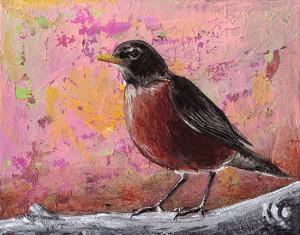 """American Robin #3"" - acrylic on canvas. Artist: Daniel (Dano) Carver"