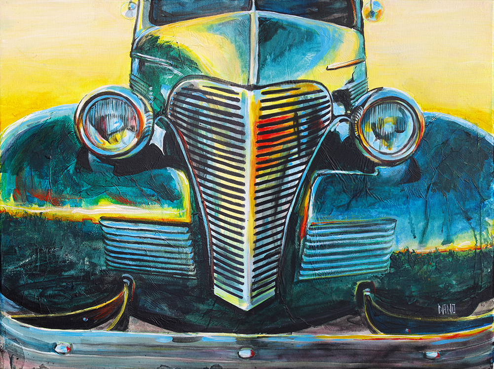"""'38 Chevrolet Master Deluxe"" Acrylic painting on canvas (24"" x 18"") by Dano Carver"