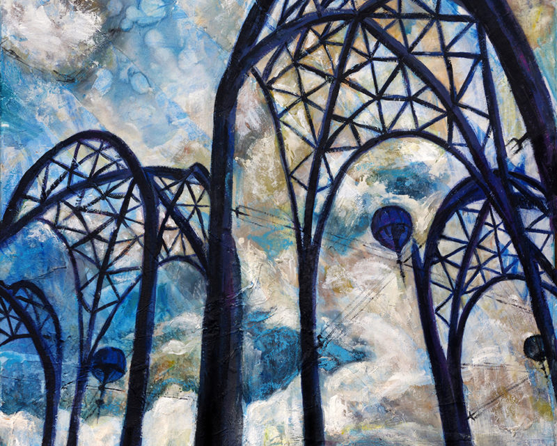painting of Seattle Center arches