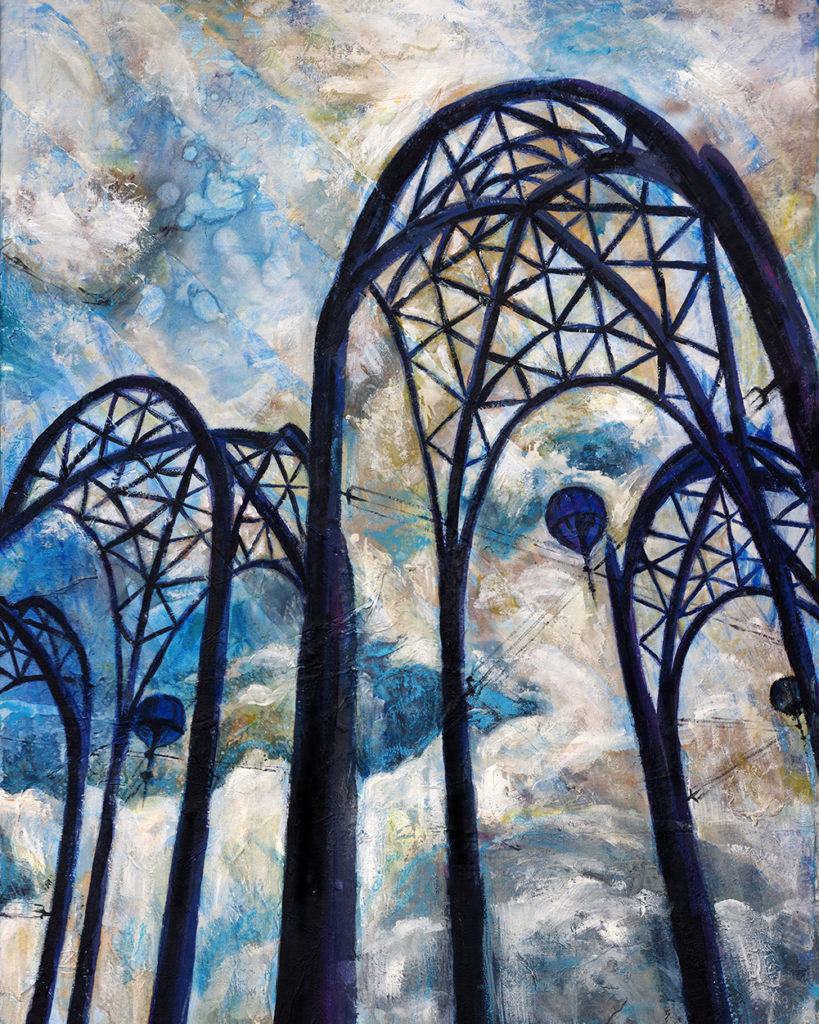 """Seattle Science Center Arches"" Mixed media with acrylic and melted crayon (24"" x 36) by Dano Carver."