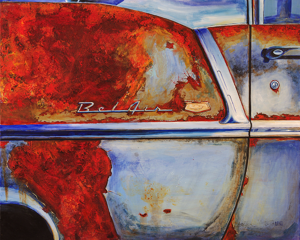 Painting by Dano Carver of a '55 Chevy Belair