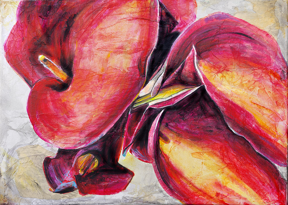 """Calla Lillies"" Acrylic painting on canvas (24"" x 18"") by Dano Carver"
