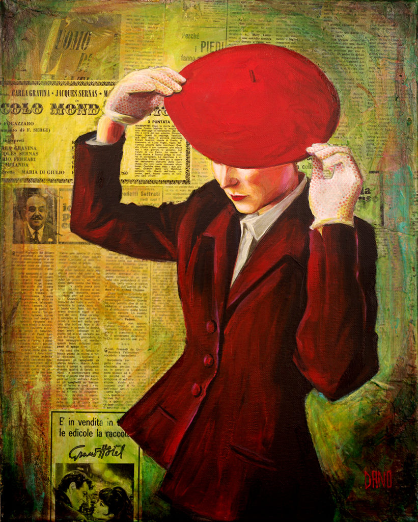 """Red Beret"" Acrylic painting on canvas (16"" x 20"") by artist Dano Carver."