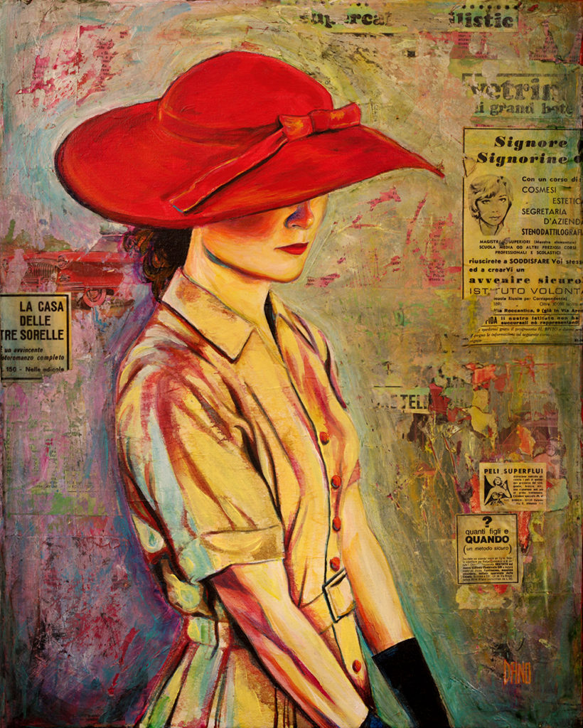 """Red Hat"" Acrylic painting on canvas (16"" x 20"") by artist Dano Carver."