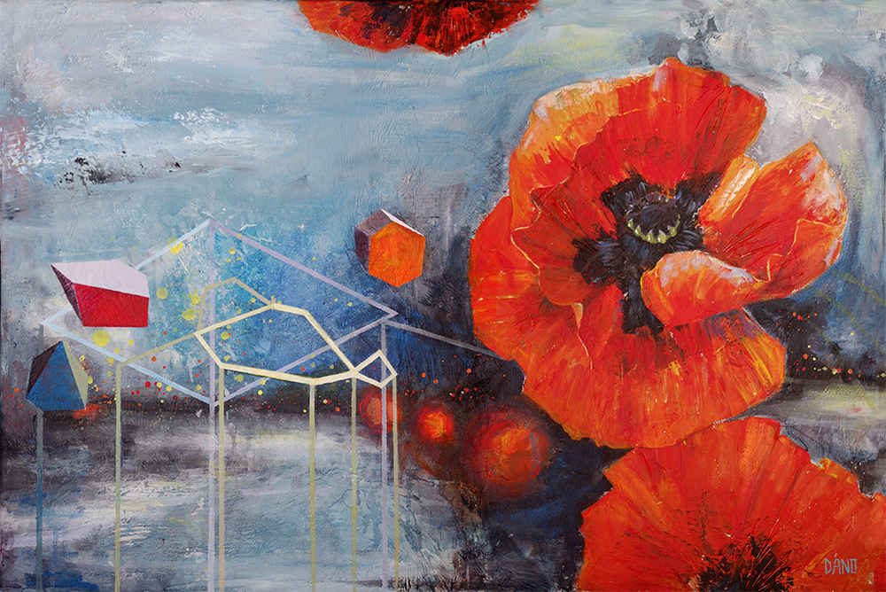 """Poppies for K"" Acrylic painting on canvas (36"" x 24"") by Dano Carver"