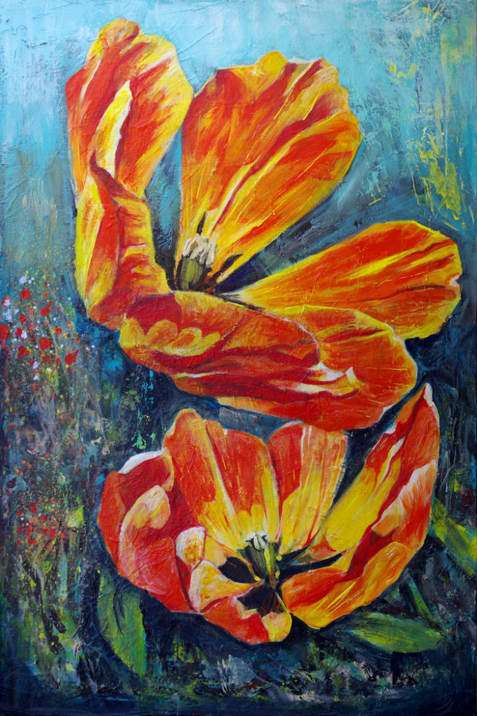 """Orange Tulips"" Acrylic painting on canvas (24"" x 36"") by Dano Carver"