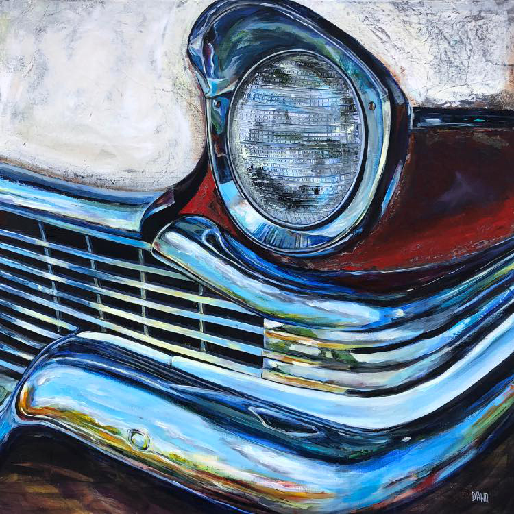 Painting by Dano Carver of a '57 Studebaker Provincial Station Wagon