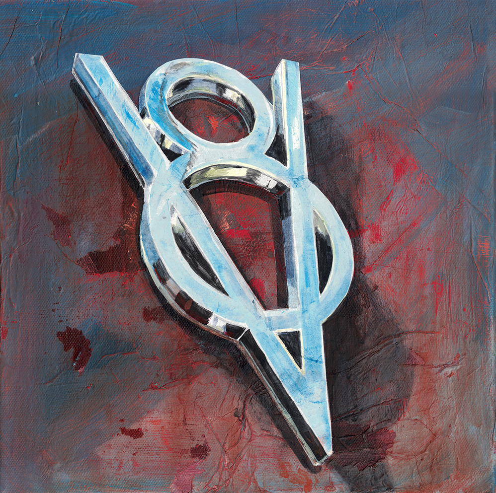 Painting by Dano Carver of a vintage Ford V8 Emblem from 50s