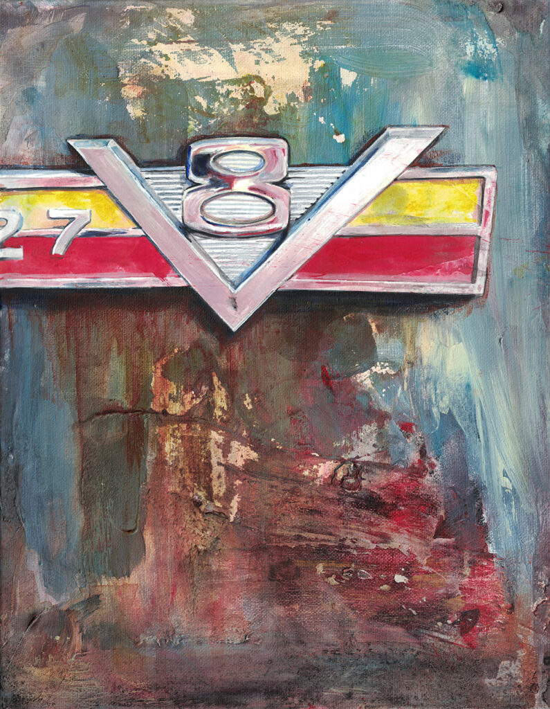 Painting by Dano Carver of a Vintage 327 Jeep Emblem from the 60s.